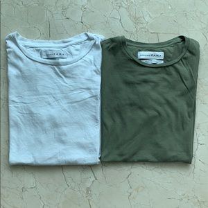 2 Zara Small Basic T Shirts in Olive Green, White